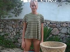 blonde posing